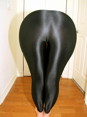 Cuties with massive rump in black leggings