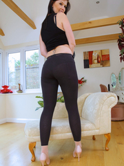 Cuties with biggest arse in black leggings